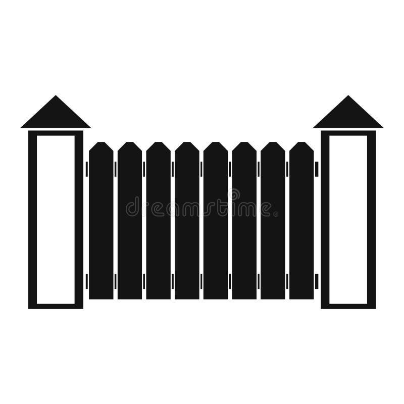 Omheining met torentjepictogram, eenvoudige stijl stock illustratie