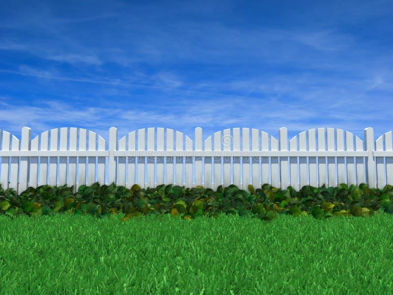 Omheining op een grasgebied onder een blauwe hemel vector illustratie