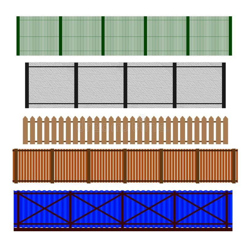 Omheining Set Verschillende ontwerpen van omheiningen en murenillustratie vector illustratie