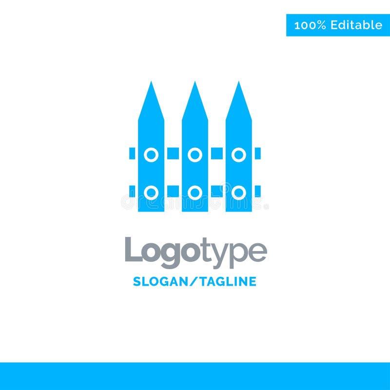 Omheining, Tuin, het Tuinieren, de Lente Blauw Stevig Logo Template Plaats voor Tagline stock illustratie