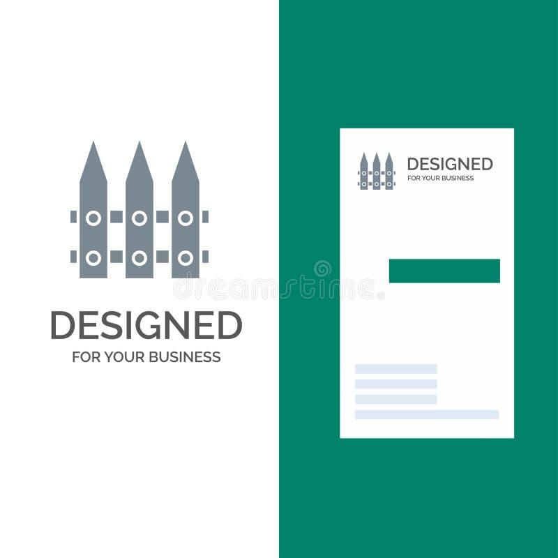 Omheining, Tuin, het Tuinieren, de Lente Grey Logo Design en Visitekaartjemalplaatje royalty-vrije illustratie