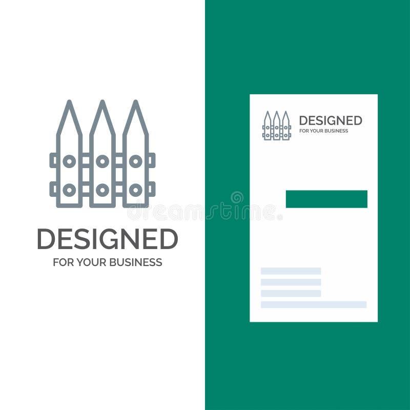 Omheining, Tuin, het Tuinieren, de Lente Grey Logo Design en Visitekaartjemalplaatje vector illustratie