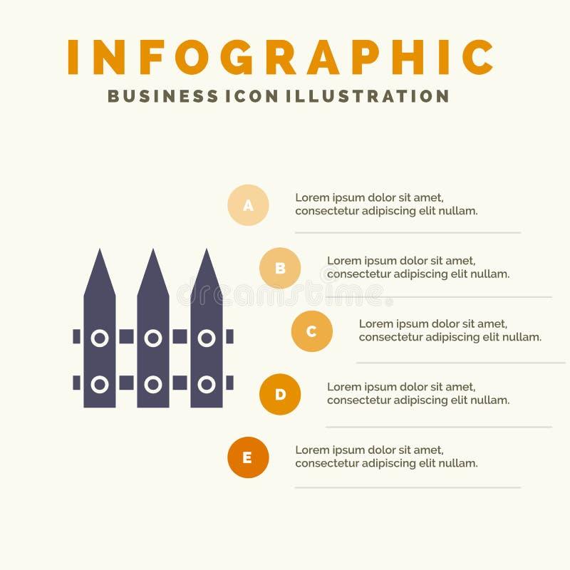 Omheining, Tuin, het Tuinieren, de Lente Stevig Pictogram Infographics 5 de Achtergrond van de Stappenpresentatie stock illustratie