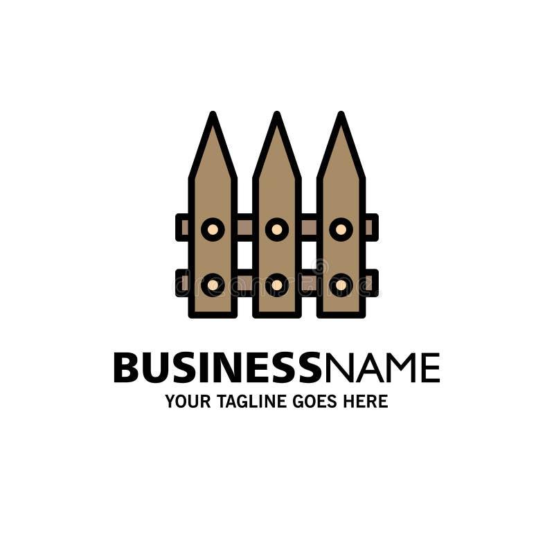 Omheining, Tuin, het Tuinieren, de Lentezaken Logo Template vlakke kleur vector illustratie
