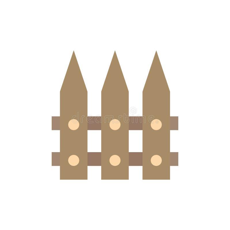 Omheining, Tuin, het Tuinieren, Pictogram van de de Lente het Vlakke Kleur Het vectormalplaatje van de pictogrambanner vector illustratie