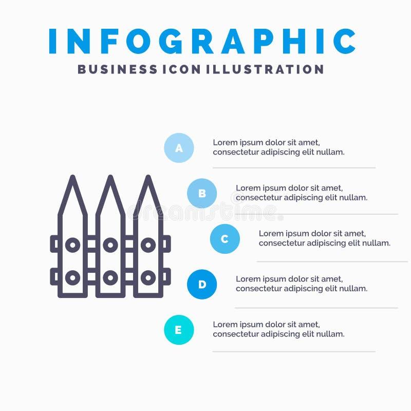 Omheining, Tuin, het Tuinieren, het pictogram van de de Lentelijn met infographicsachtergrond van de 5 stappenpresentatie royalty-vrije illustratie