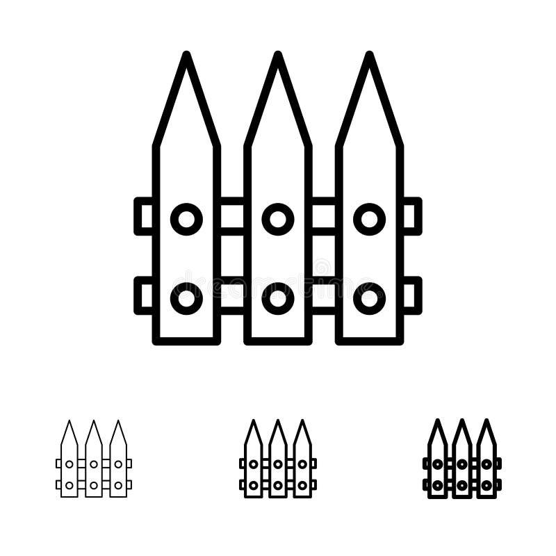 Omheining, Tuin, het Tuinieren, het pictogramreeks van de de Lente Gewaagde en dunne zwarte lijn vector illustratie