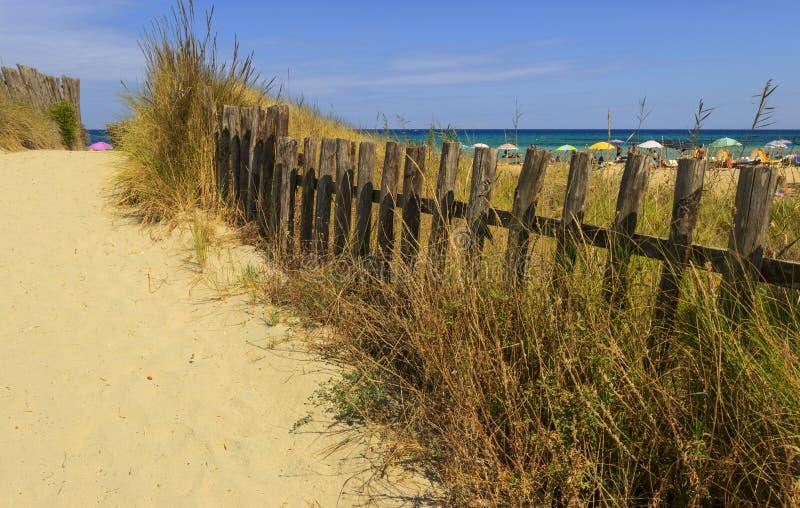 Omheining tussen overzeese duinen in Apulia Italië royalty-vrije stock foto's