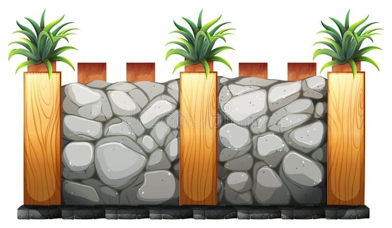 Omheining van stenen en hout wordt gemaakt dat royalty-vrije illustratie