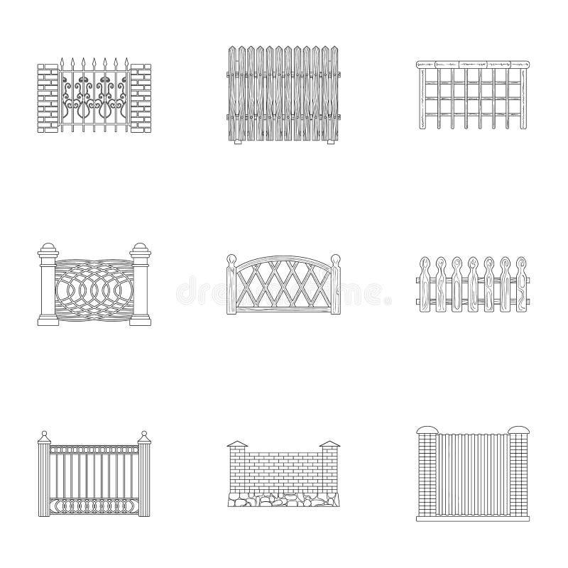 omheining verwante pictogramreeks vector illustratie