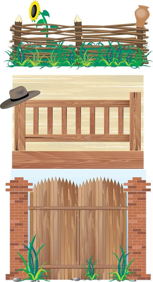 Omheiningen en Poort stock illustratie