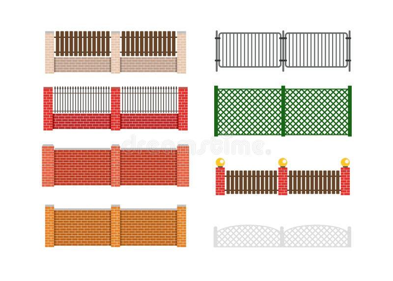 Omheinings vectorillustratie Baksteenomheining en houten omheining Omheiningsaro stock illustratie