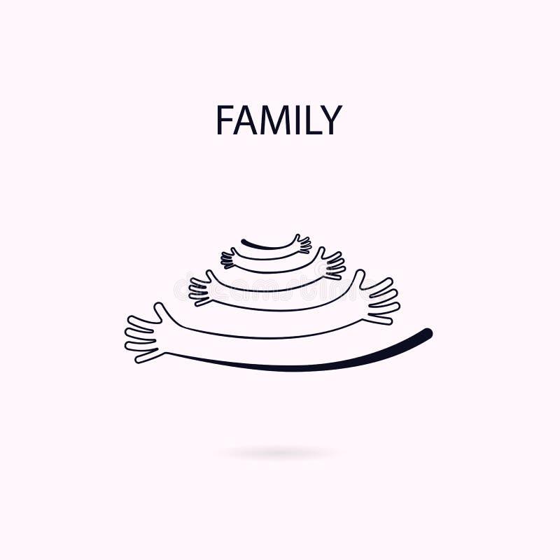 Omhels of koester het ontwerpmalplaatje van het pictogrammen vectorembleem Familie en liefde vector illustratie