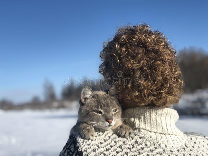 Omhelzingen van huisdiereneigenaar op de schouder stock afbeelding