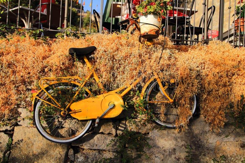 Omhoog het hangen van gele fiets stock fotografie