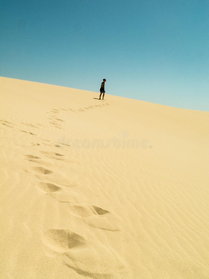 Omhoog het lopen van de duinen in de woestijn royalty-vrije stock afbeeldingen