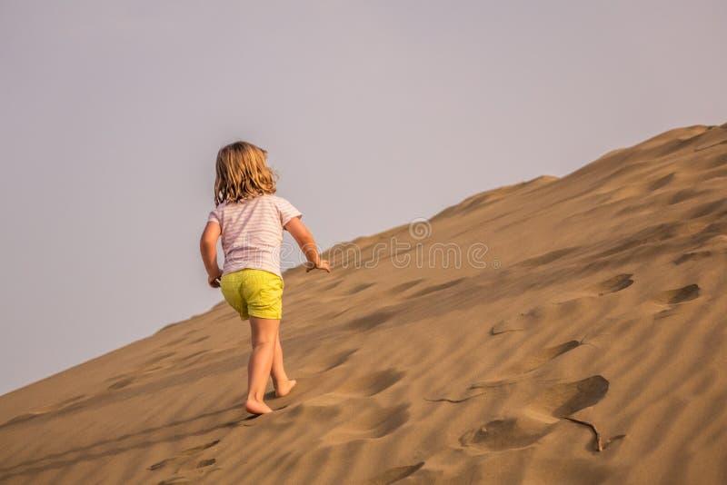 Omhoog het lopen van de zandduinen stock fotografie