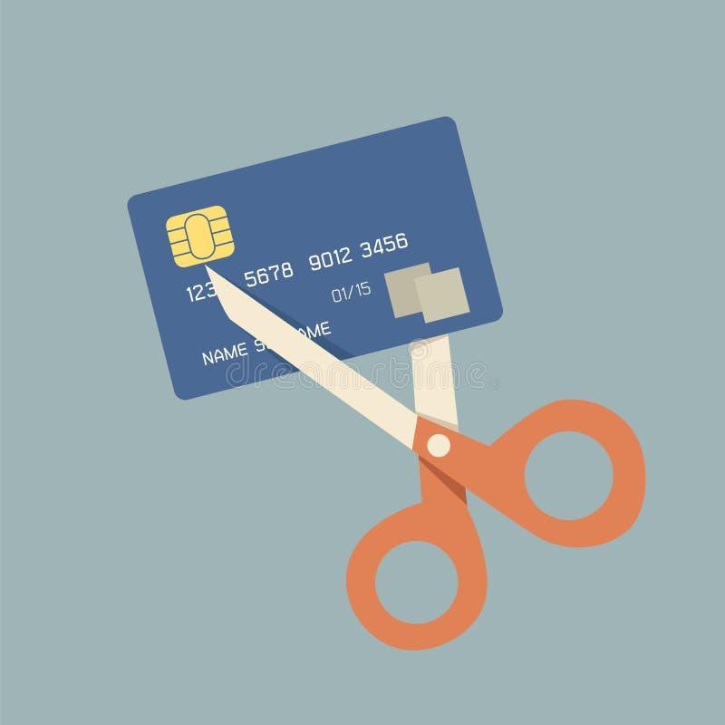 Omhoog het snijden van creditcard royalty-vrije illustratie