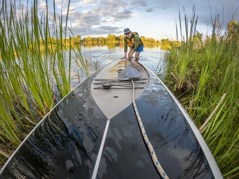 Omhoog lancerend tribune paddleboard stock foto