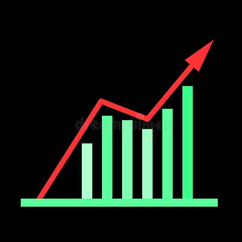 Omhoog-neigt bedrijfsgrafiek Groen op zwarte vector illustratie