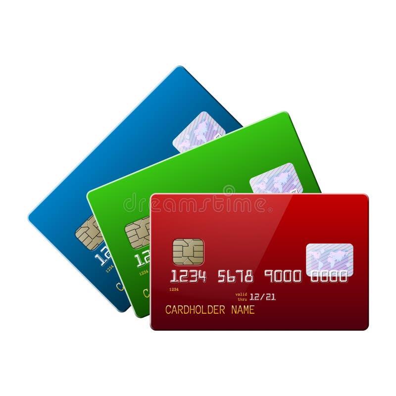 Omhoog plaatste de hoogst gedetailleerde realistische glanzende creditcardsspot royalty-vrije illustratie