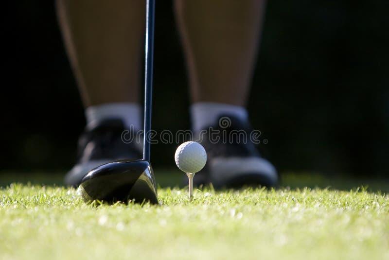 Omhoog teed golfbal royalty-vrije stock afbeelding