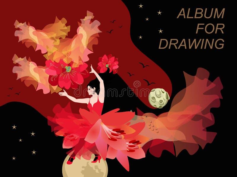 Omhulling voor album bestemd voor tekening Flamenco danser danst met zon in de vorm van clematis bloem, zonnestralen zijn als vli stock illustratie