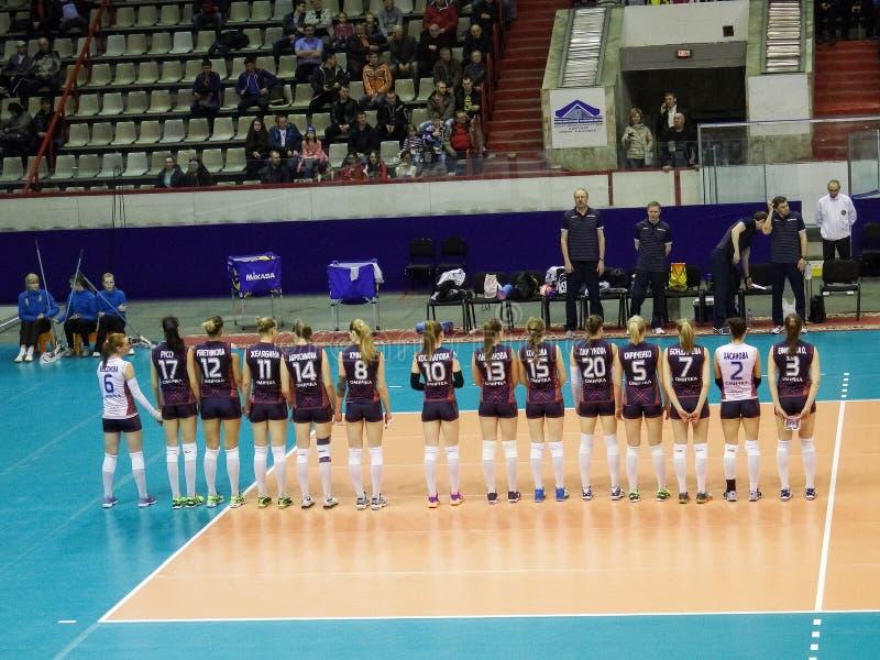 Omichka (Omsk Region) - Dynamo (Krasnodar). Presentation of teams royalty free stock photos