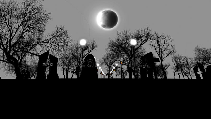 Ominous cemetry with tombs on Halloween at night. 3D illustration of an old cemetry full of creepy spitirs with half ruined tombs with crosses, street lanterns vector illustration