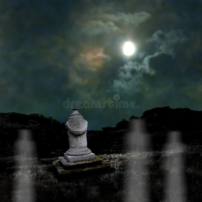 Ominous dark night in dim moonlight on Halloween royalty free stock photography