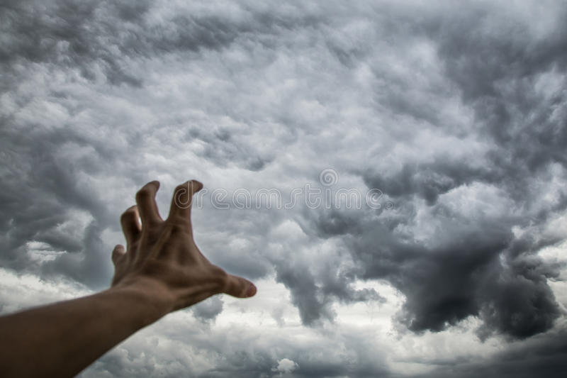 Ominous dark storm clouds. Ð¡hange weather and climate.  stock photography