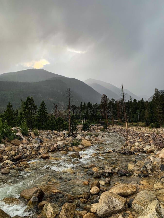 Ominous Estes Park Serata d'autunno fotografie stock