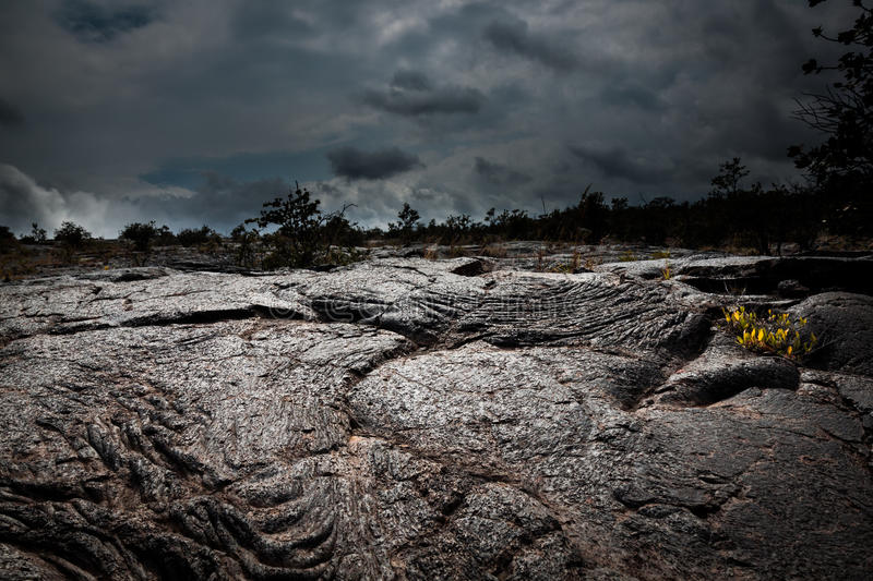 Ominous Lava Field. A dark field of hardened lava catches a glint of sunlight beneath ominous clouds. The lava originated in an eruption of Kilauea Volcano on stock photo