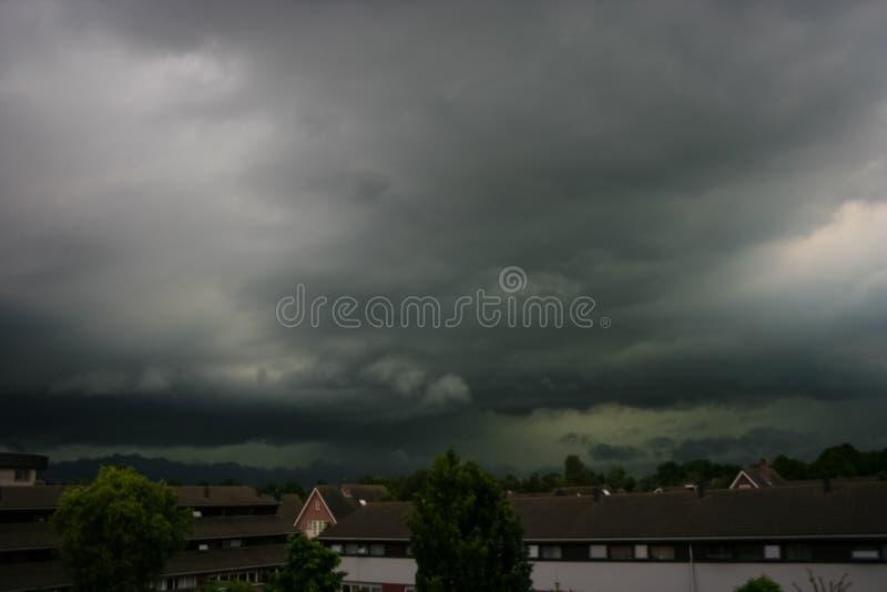 Green colored summer thunderstorm near Utrecht, Holland stock photo