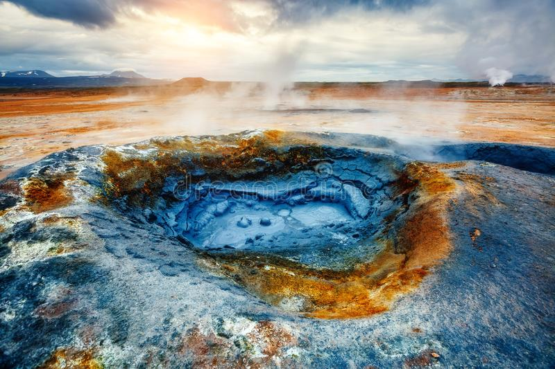Ominous view geothermal area Hverir Hverarond near Lake Myvatn stock images