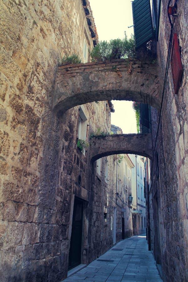 Omis old town street, Croatia stock photography