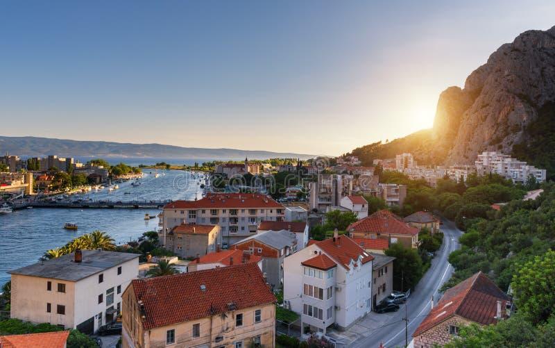 Omis Old town in sunset light, popular tourist resort in Croatia stock image