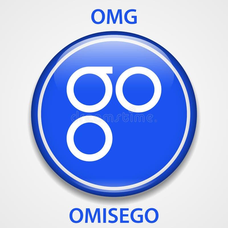 OmiseGo cryptocurrency blockchain icon. Virtual electronic, internet money or cryptocoin symbol, logo.  royalty free illustration