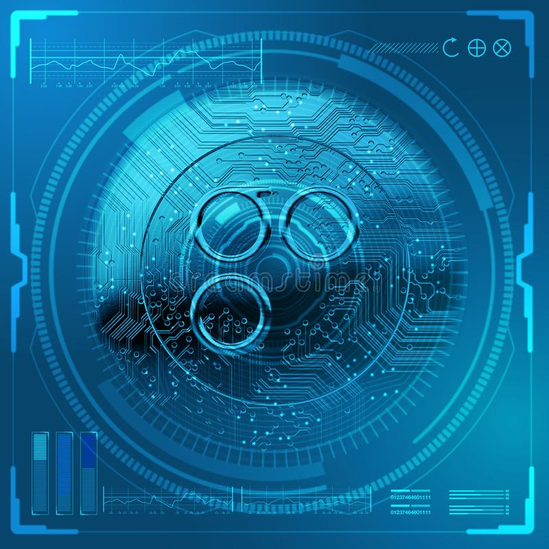 Cryptocurrency Omisego Futuristic. Omisego cryptocurrency in coin form overlaid with a scientific technical data analysis interface in shades of futuristc blue vector illustration