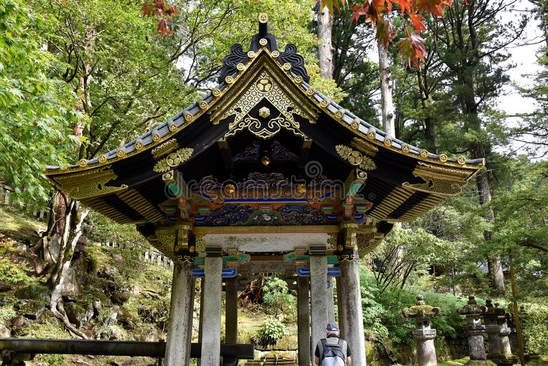 Omizya purification fountain in Nikko stock photography