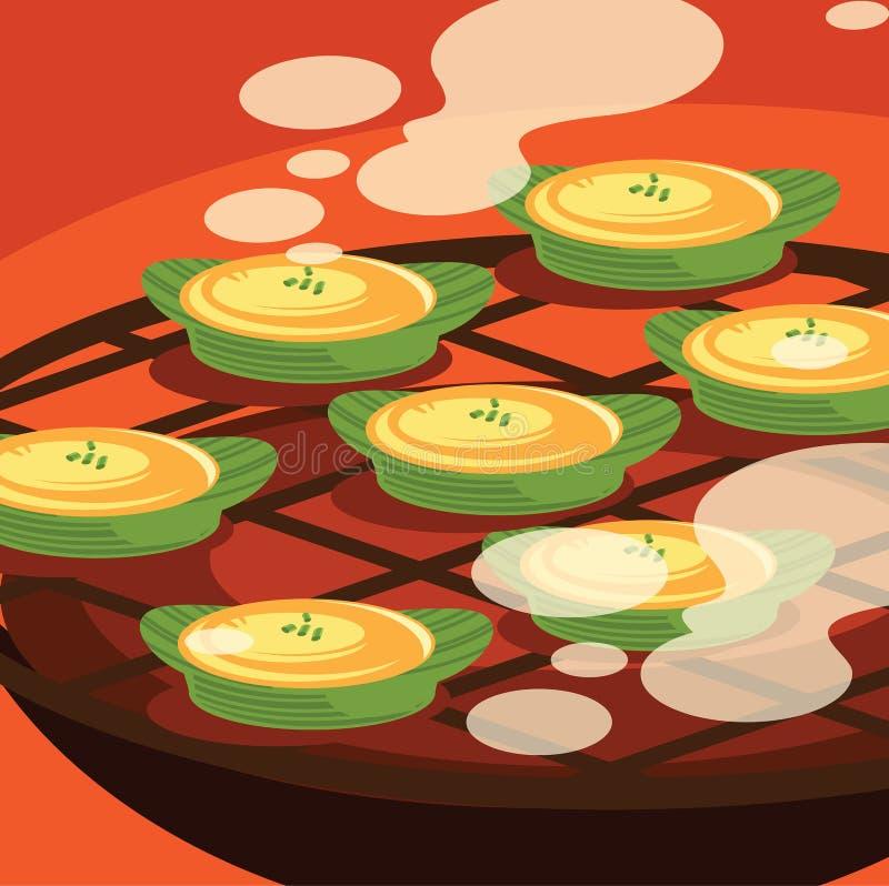 Omlet na bananowy pakunek piec na grillu liść ilustraci ilustracji