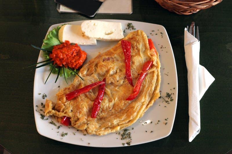 Omlet w restauraci obraz royalty free