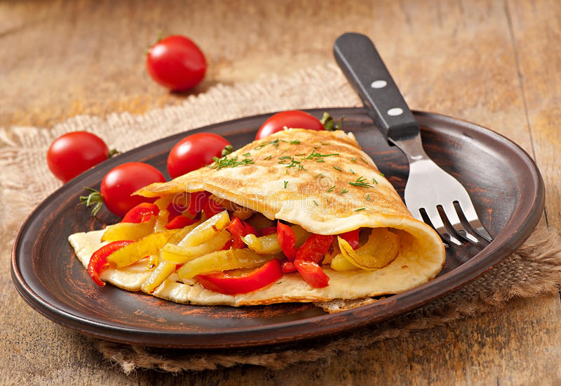 Omlet z piec pieprzami fotografia stock