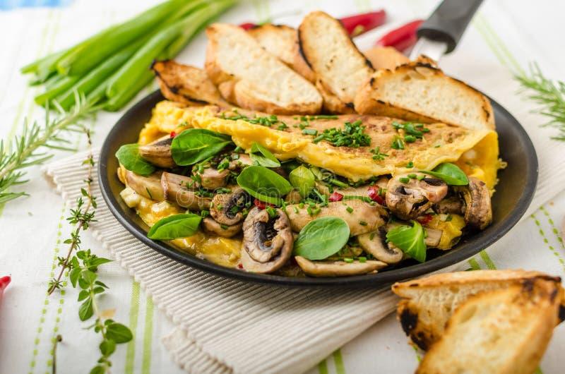 Omlet z pieczarkami, baranek sałatą, ziele i chili, obraz stock