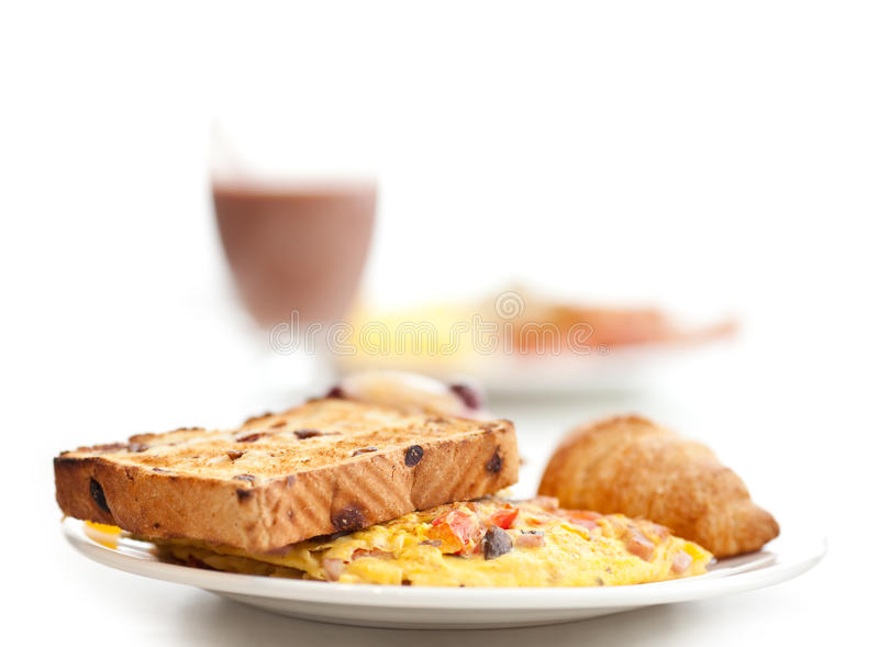 Omlette & toast breakfast royalty free stock photo