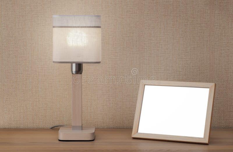 Omlijsting en lamp stock fotografie