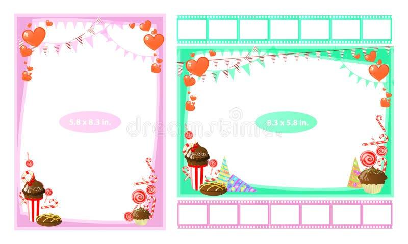 Omlijsting met snoepjes en karamels in duim stock illustratie