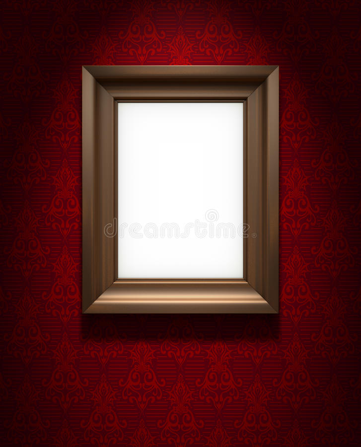 Omlijsting op rood behang vector illustratie