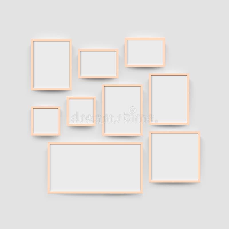 Omlijstinggalerij voor foto's wordt geplaatst die vector illustratie