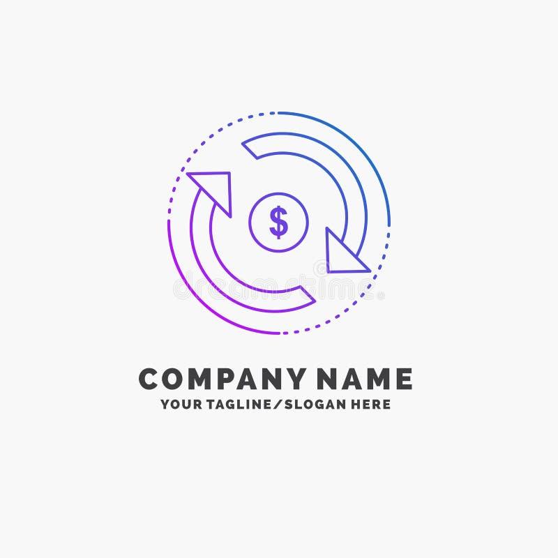 Omloop, financiën, stroom, markt, geld Purpere Zaken Logo Template Plaats voor Tagline vector illustratie